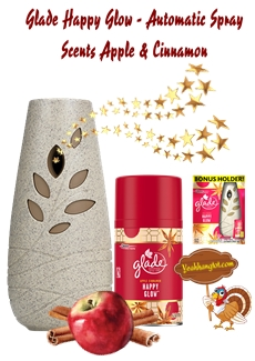 GLADE HAPPY GLOW - AUTOMATIC SPRAY SCENTS APPLE & CINANMON